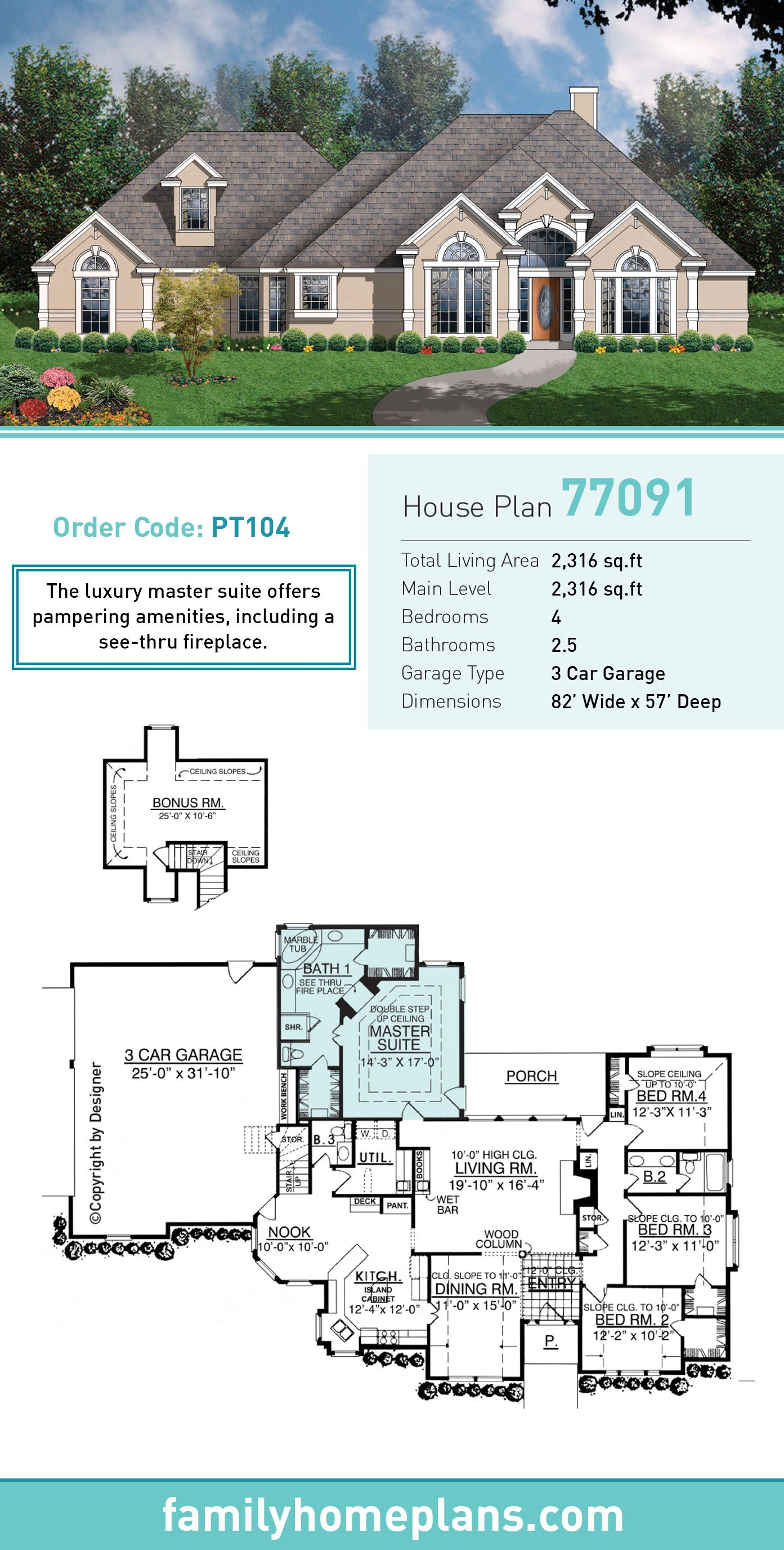 European House Plan 77091 Total Living