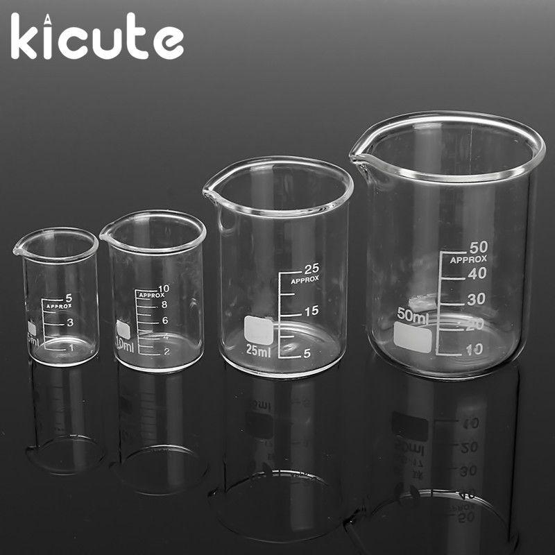 Kicute 4 Stücke 5 ml 10 ml 25 ml 50 ml Glas Transparent Becher Set Absolvierte Borosilikatglas Becher Schule labor Study Supplies