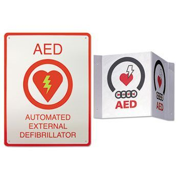 Aed Wall Sign Package, 8 1/2 X 11, White/red, 2/kit