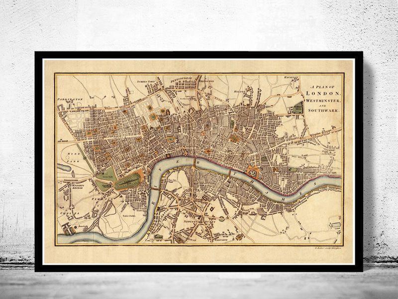 old map of london england united kingdom 1807 product image