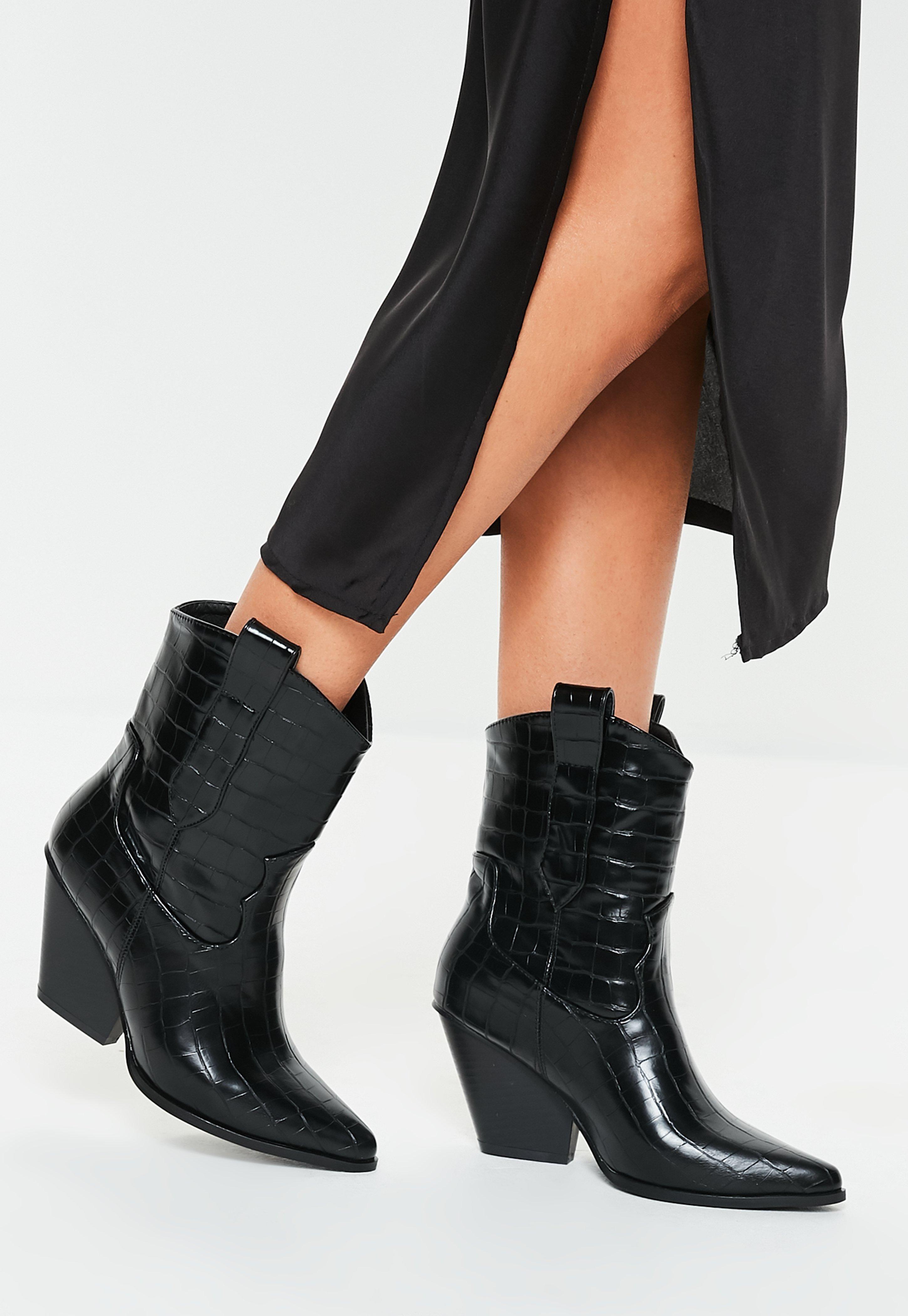 Black Patent Croc Curved Heel Cowboy