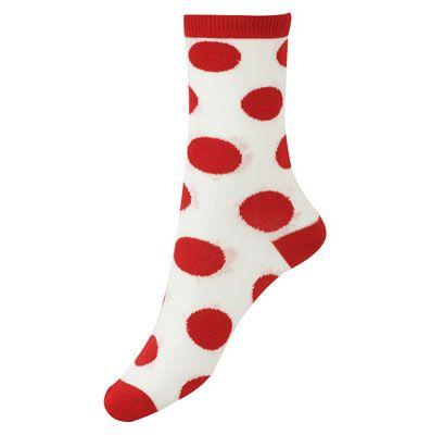 Polka Dots Socks: Red/Cream   FOREVER21