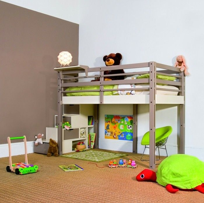 kinderzimmer hochbett modern funktional akzentwand teppichboden