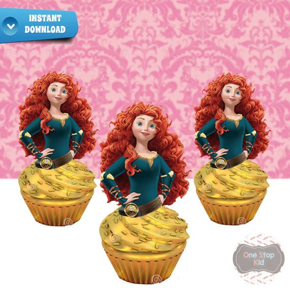 INSTANT DOWNLOAD Merida Cupcake Toppers