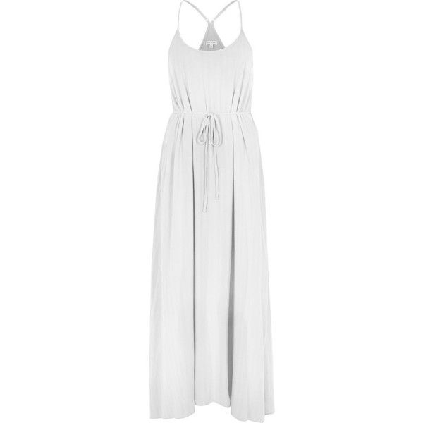 f5b2a36900e0f River Island White tie waist maxi slip dress ( 76) ❤ liked on Polyvore  featuring dresses