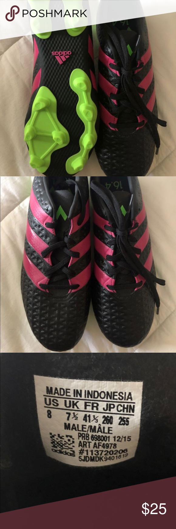 d857eccd781 Adidas Men Soccer Shoes Adidas Ace 16.4 FXG Men s Soccer Cleats Black Pink Green  AF4978 Size 8. No box