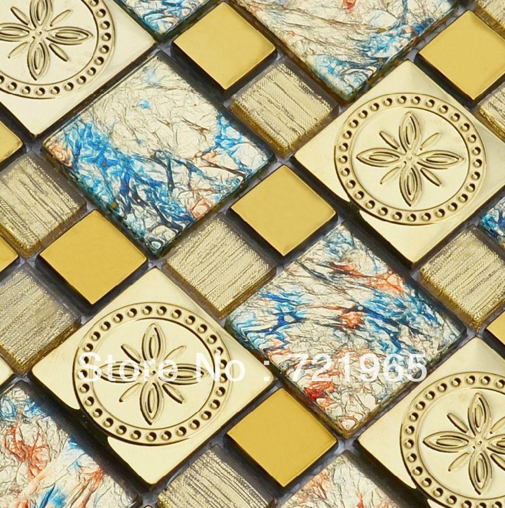 Stainless steel tile backsplash SSMT297 kitchen mosaic glass wall