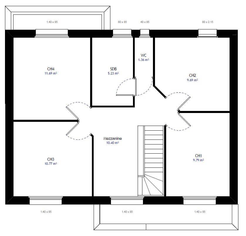 Plan 2de La Maison Individuelle Habitat Concept 28 Plan Maison 4 Chambres Plan Maison Maison 4 Chambres