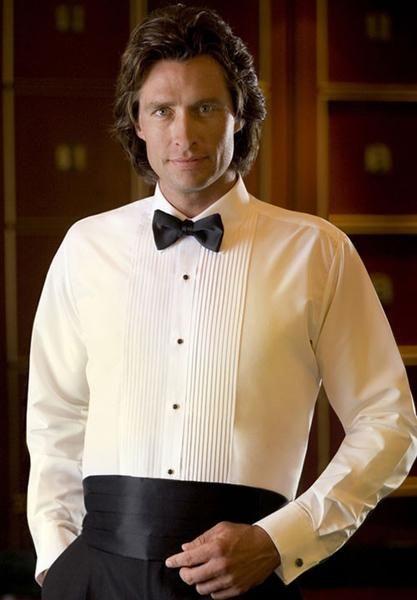 Ivory Tuxedo Shirt With Laydown Collar