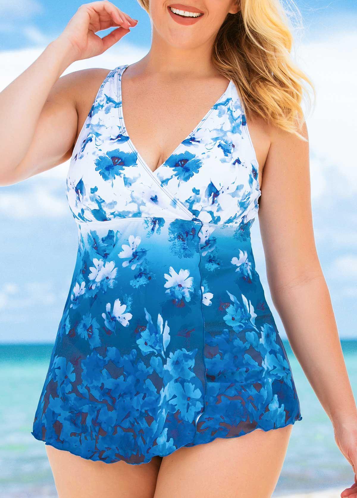 67d3240a03b Plus Size V Neck Flower Print Swimdress and Panty