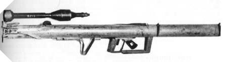 Panzerschreck sheet.  Country creator/user: Germany Name: RPzB 43 Shooting mode: single Caliber: 88 mm Operating distance: 120 m Rate of fire: 2 rounds/min Weight: 9,25 kg Length: 1,640 mm
