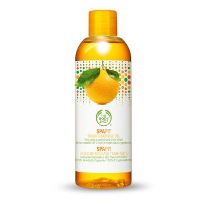 The Body Shop Spa Fit Toning Massage Oil. It will leave skin looking smoother and more toned.