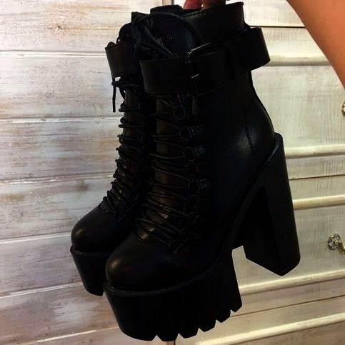 Heels Platform Boots Ankle Boots Female Lace Up Women Shoes Fashion Black Square Heels Platform Boots Ankle Boots Female Lace Up Women Shoes FashionBlack Square Heels Pla...