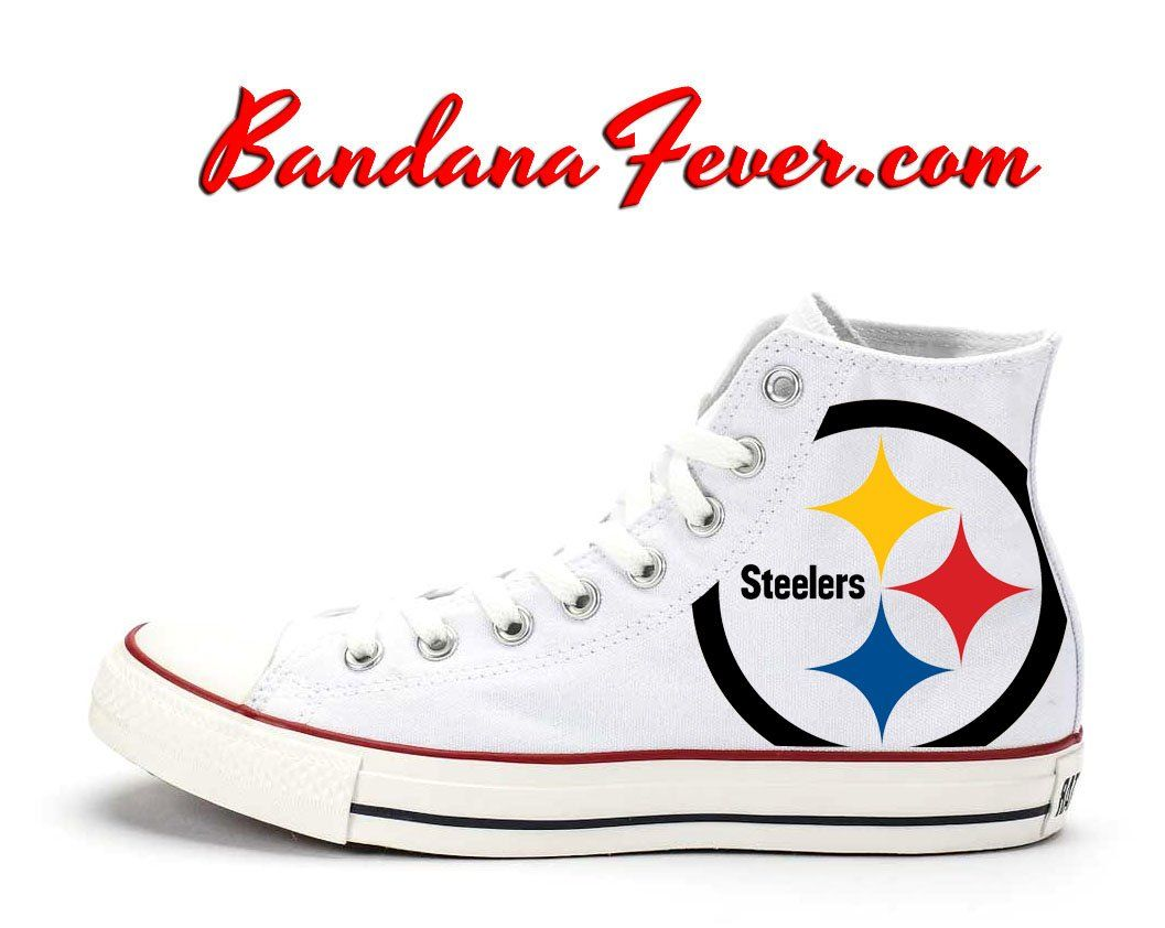 ec26b7bfdd41dd Bandana Fever Pittsburgh Steelers Print Custom White Converse High Top Shoes   sneakers  explorepage