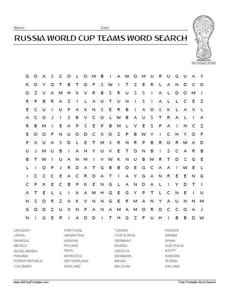 Soccer Teams Word Search Printable