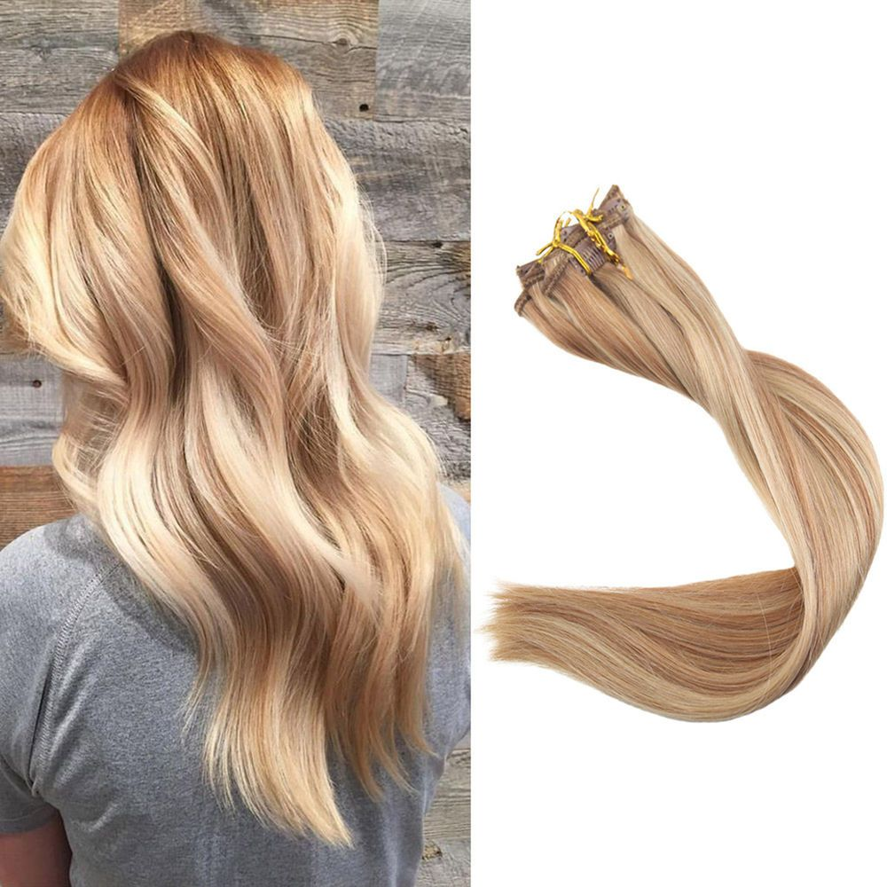 9Pcs Clip in Real Human Hair Extensions 10 Golden Brown