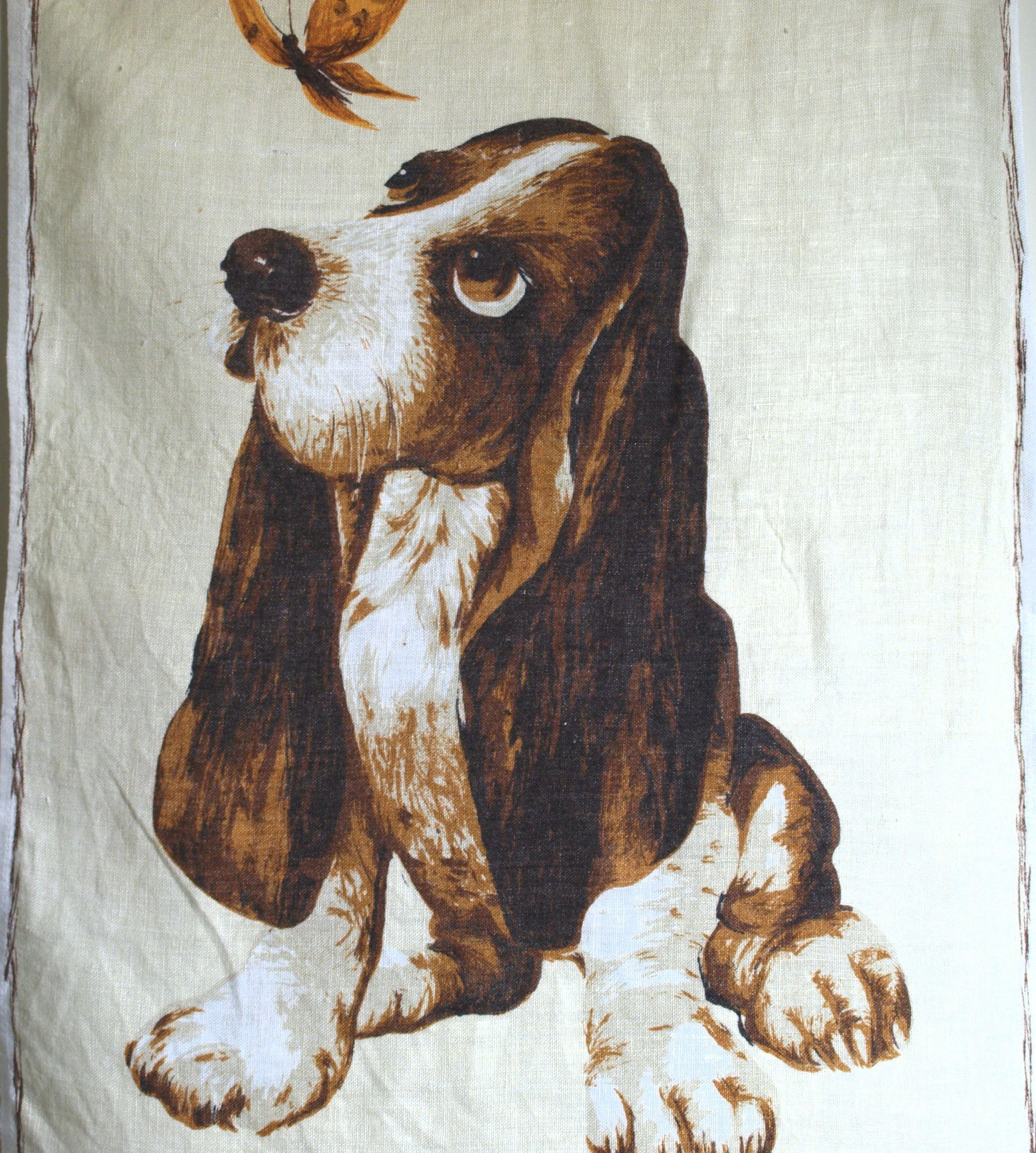 Dunmoy Irish Linen Basset Hound Dog And Butterfly Kitsch Tea Towel 50s Hush Puppy Dog Lover Tea Towel Basset Hound Dog Hound Puppies Basset Hound Puppy
