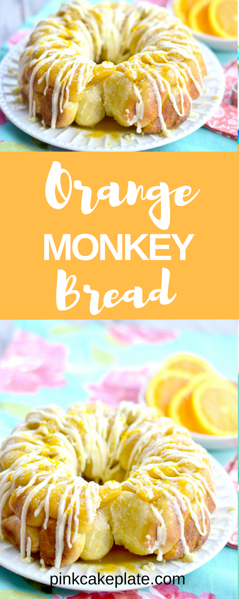 Orange Monkey Bread - Pink Cake Plate