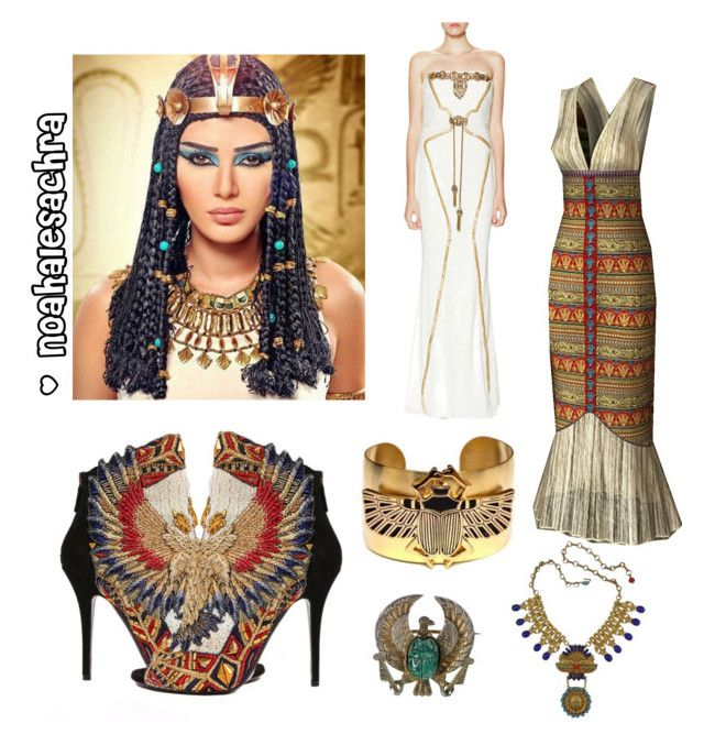 """""""Egypt queen"""" by noahalesachra ❤ liked on Polyvore featuring beauty, Balmain, Badgley Mischka and Askew London"""