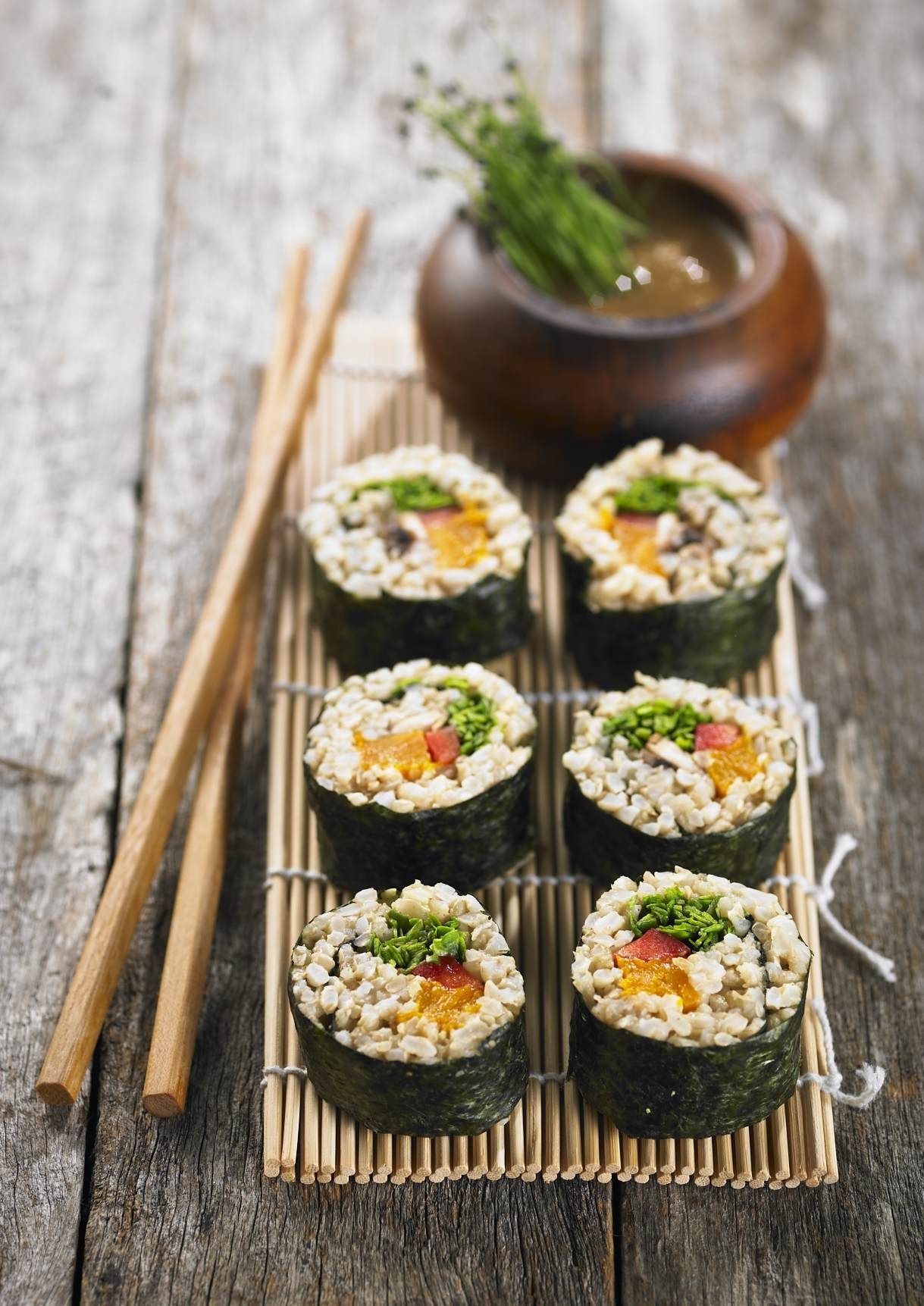Brown Rice Sushi Nori is a made from kelp, a seaweed