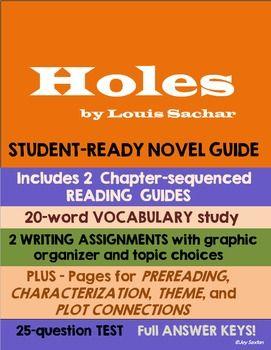 Holes Student Ready Novel Guide Novel Guides Writing Assignments Novel Studies