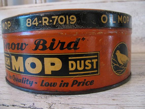 Snow Bird mop tin | vintage advertising | Tin, Vintage