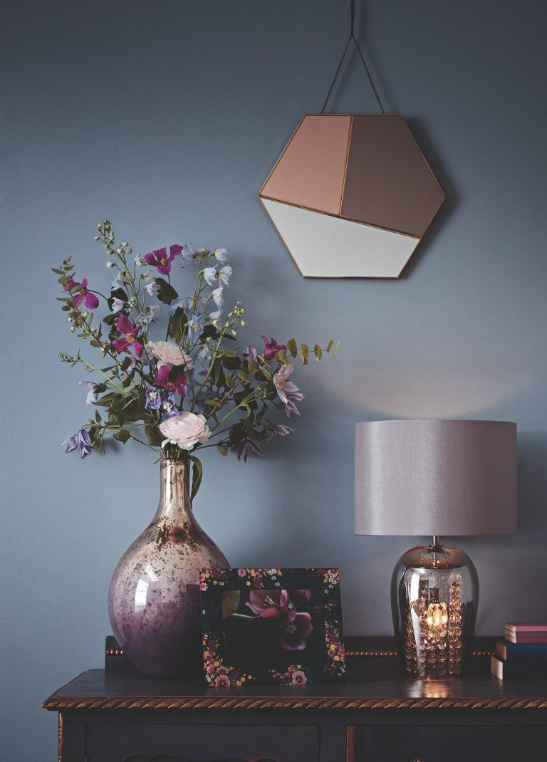 e2180ab9cb9 Tesco Fox & Ivy SS19 Table Lamp with Pearlescent Vase and Hexagonal Mirror