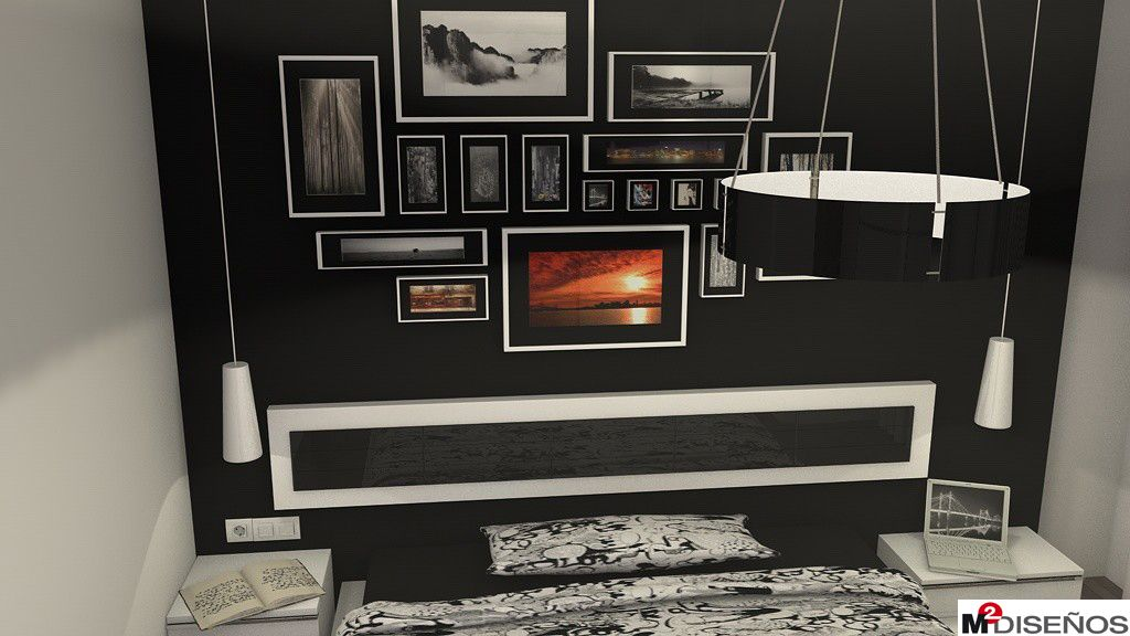 Pared negra decorada con composición cuadros en dormitorio de ...