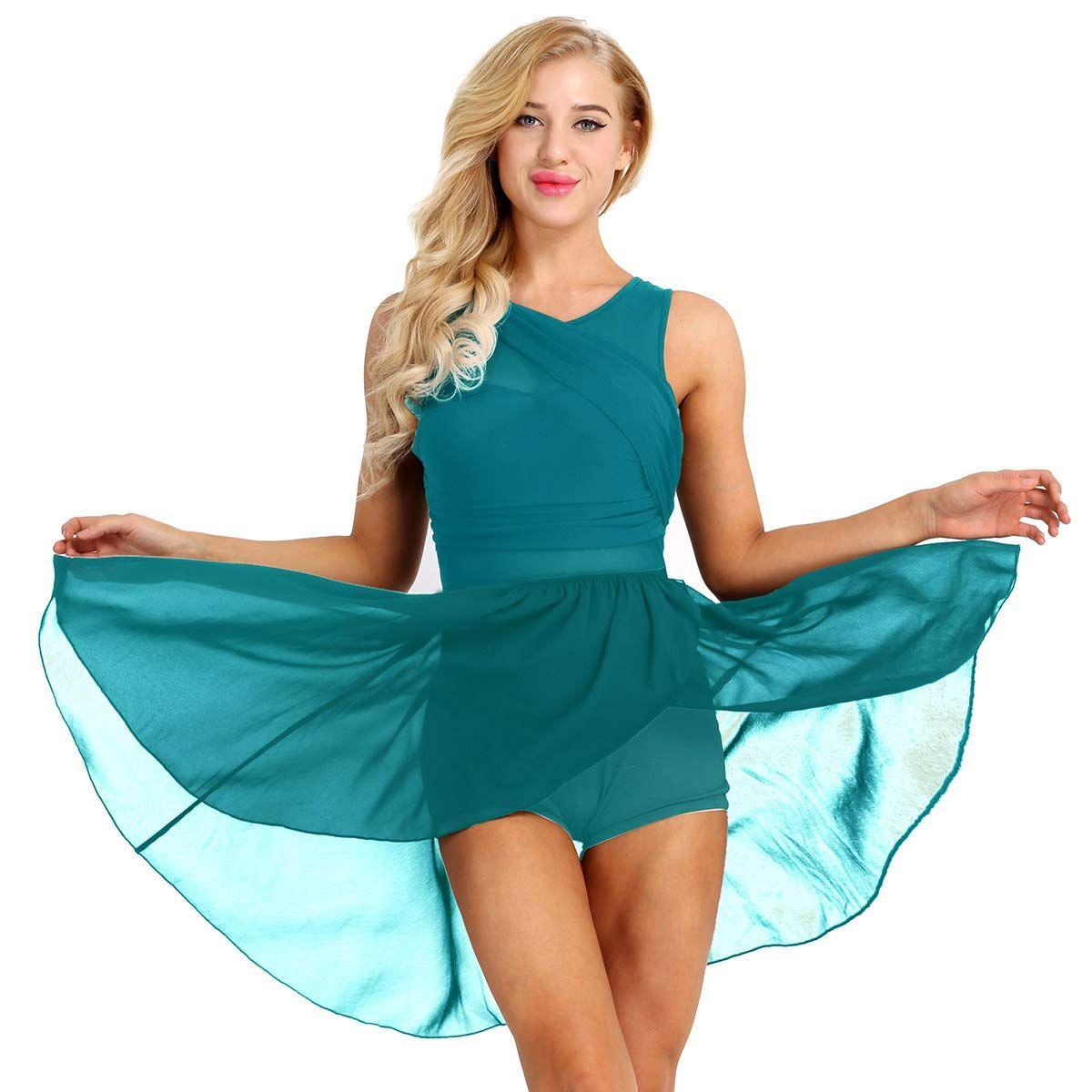 4bddc5184481 MSemis Women's Asymmetric Ballet Chiffon Skirt Warp Dress Gymnastic  Athletic Cutout Back Leotard Dance Costumes Lyrical