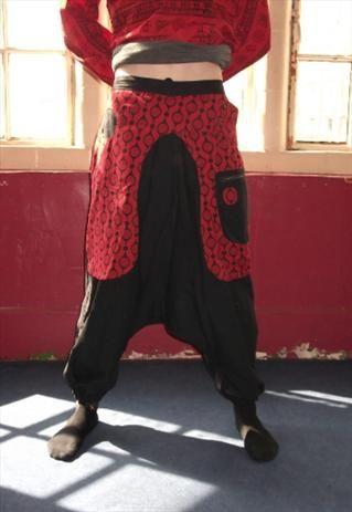 UNISEX NEPAL BLACK CARGO HAREM HIPPY PANTS