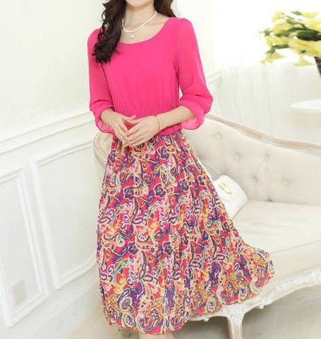 $14.52 Bohemian Scoop Neck Special Print Faux Twinset Design Chiffon Dress For Women