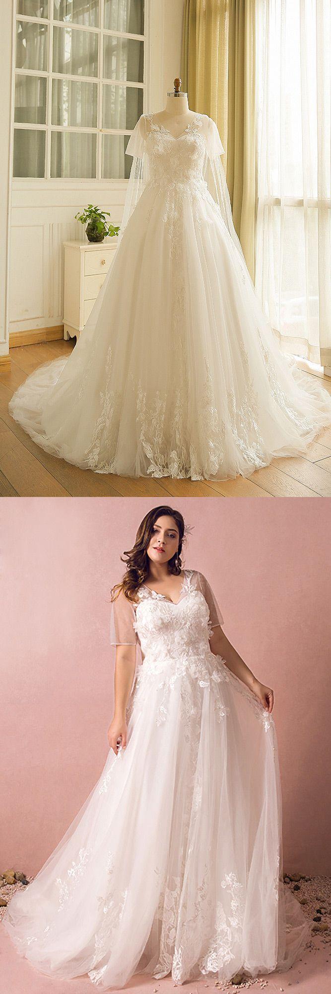 Dreamy boho plus size wedding dress with sleeves for beach wedding