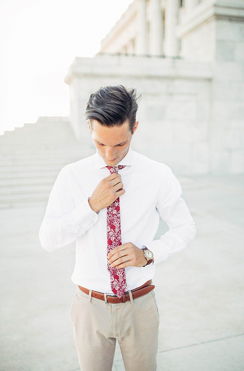 Pursuit Apparel Skinny Tie Hand Made Men's Cotton Printed Floral Neck Tie (Banzai) at Amazon Men's Clothing store: