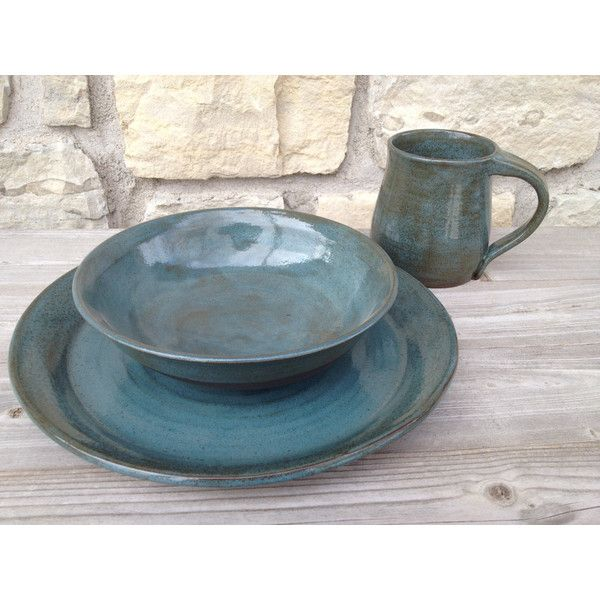 4pc place setting Pottery Dinnerware Teal on dark brown clay (310 ILS) ❤  sc 1 st  Pinterest & 4pc place setting Pottery Dinnerware Teal on dark brown clay (310 ...