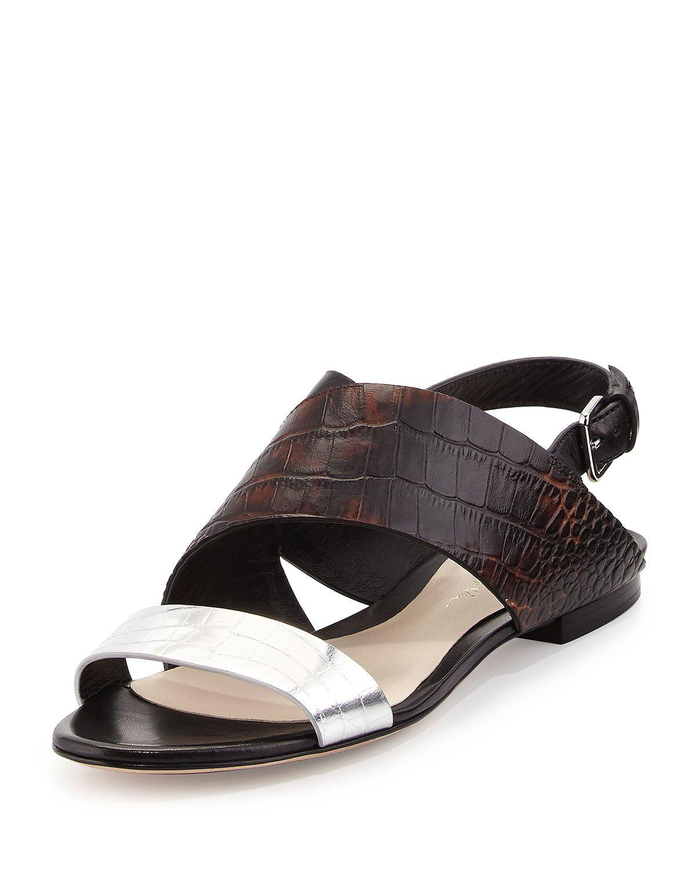Martini Crocodile-Embossed Flat Sandal, Antique Brown, Women's, Size: 35.5B/5.5B - 3.1 Phillip Lim