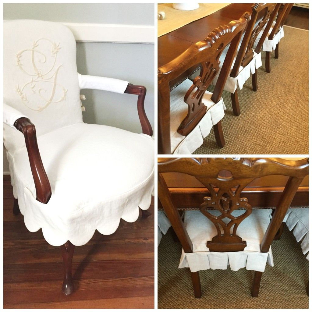 Dining Chair Slipcovers Head Chairs In Monogrammed Scalloped Slips Side Simple Pleated Seat