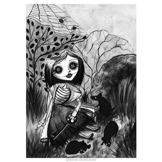 Listing Is 1 Little Me Art Print I Will Be Brave Thought Coraline No I Am Brave Neil Gaiman Coraline Is A Curio Tim Burton Art Style Art Art Prints