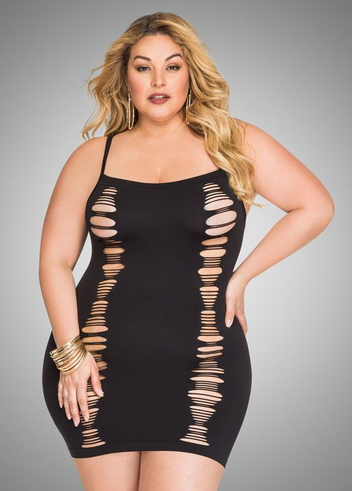 73450ffa98a Multi Slit Seamless Dress Plus Size Lingerie