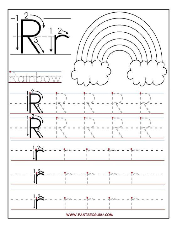 Printable letter R tracing worksheets for preschool | handwriting ...
