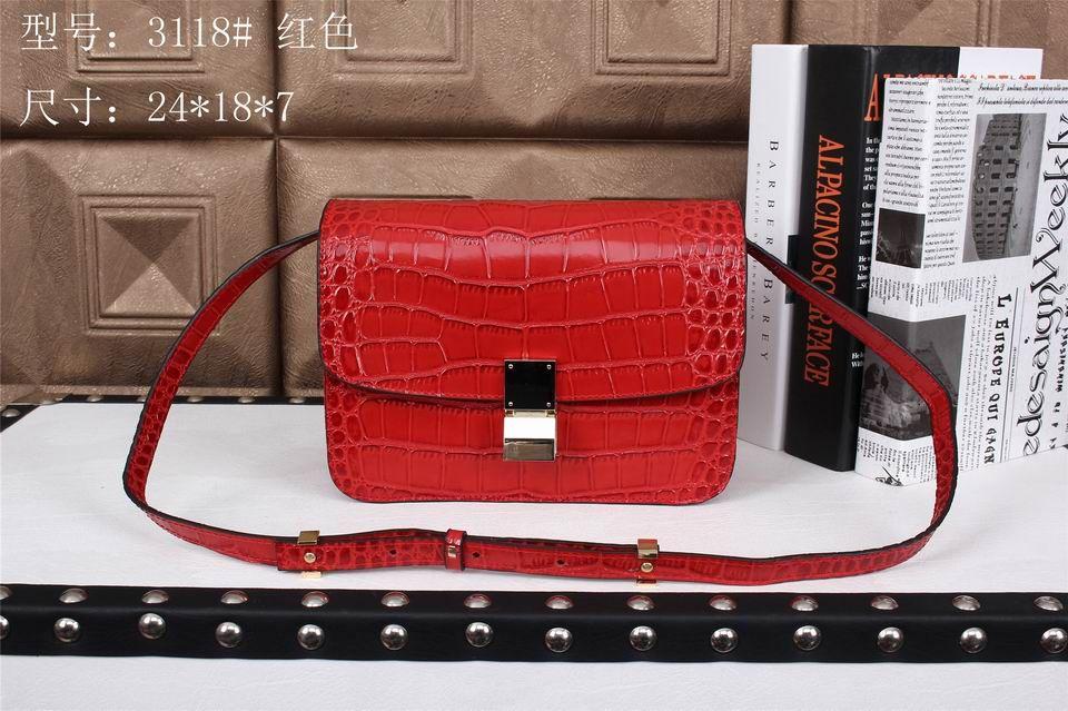 aeb8dfd141 Celine Classic Box Bag Crocodile Red