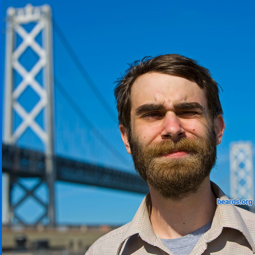 Brian and beard on the Embarcadero near the Bay Bridge ...
