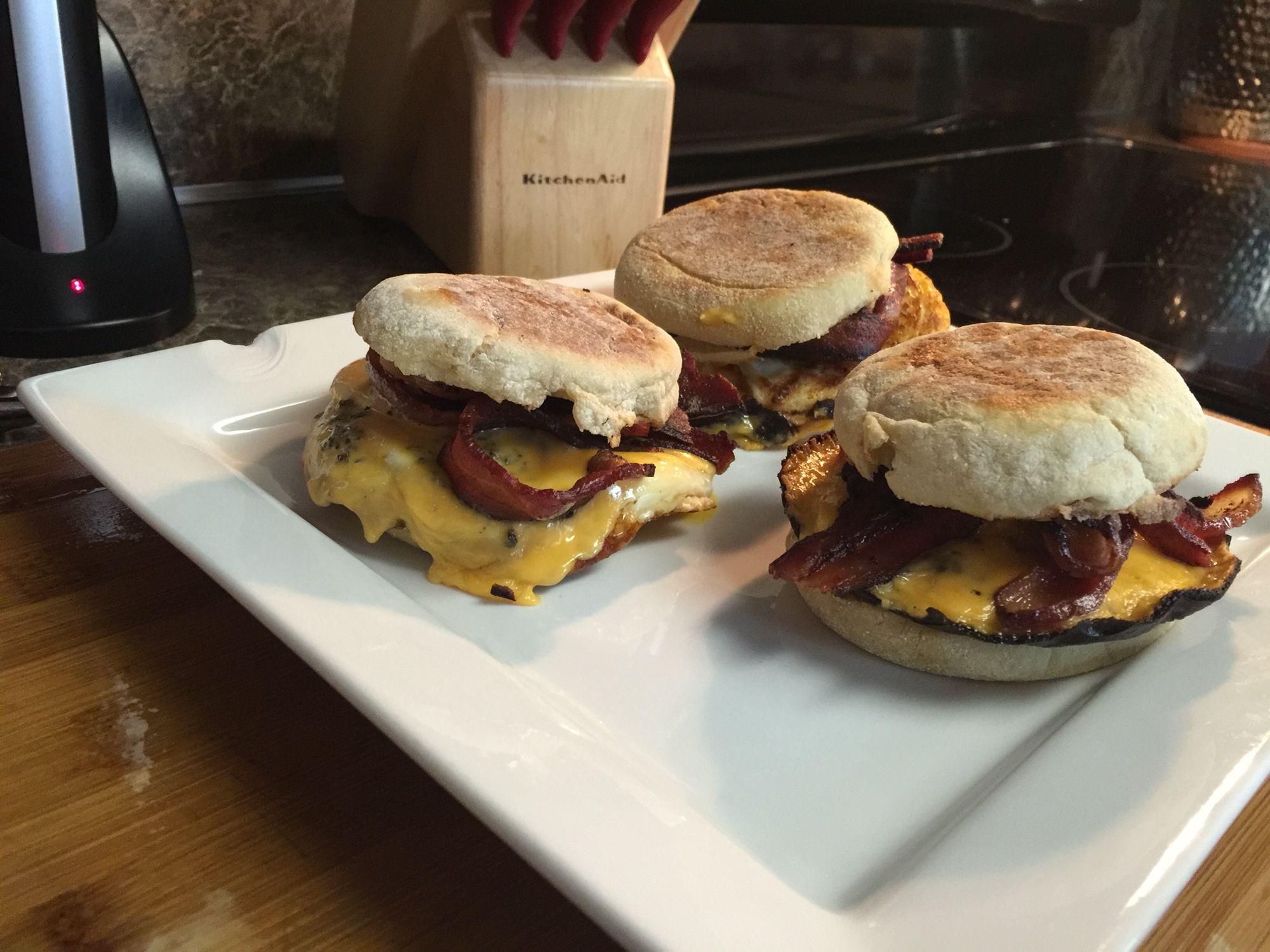 Homemade bacon egg cheese English muffins