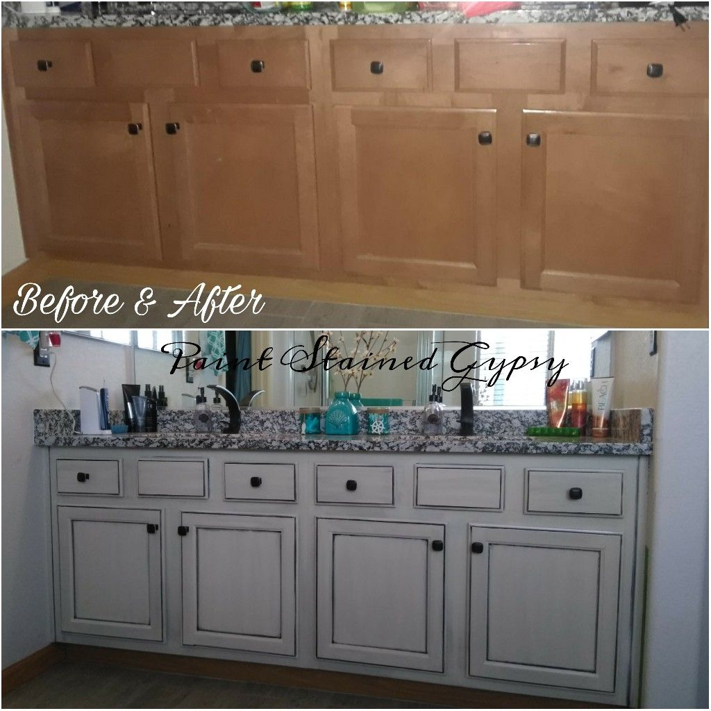 Before and After bathroom cabinet refinishing. | Bathroom ...