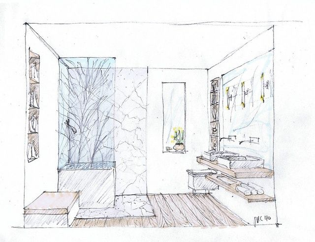 study sketch of a small contemporary master bath interior rendering