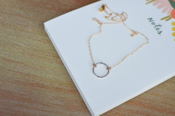 df326127bf2dc8 Silver and Gold Eternity Necklace // Circle // Karma // Simple // Neutral  // Two-tone // Everyday Necklace on Etsy, $30.00