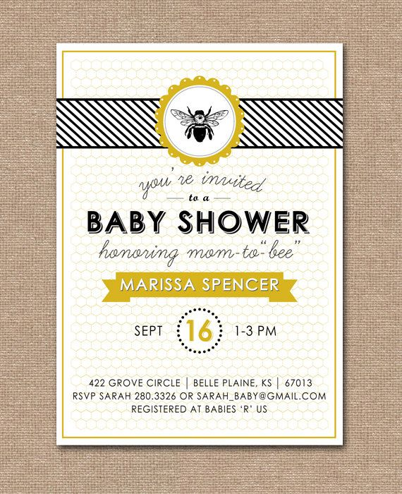 Printable Baby Shower Invitation Bee Theme On Etsy 15 00