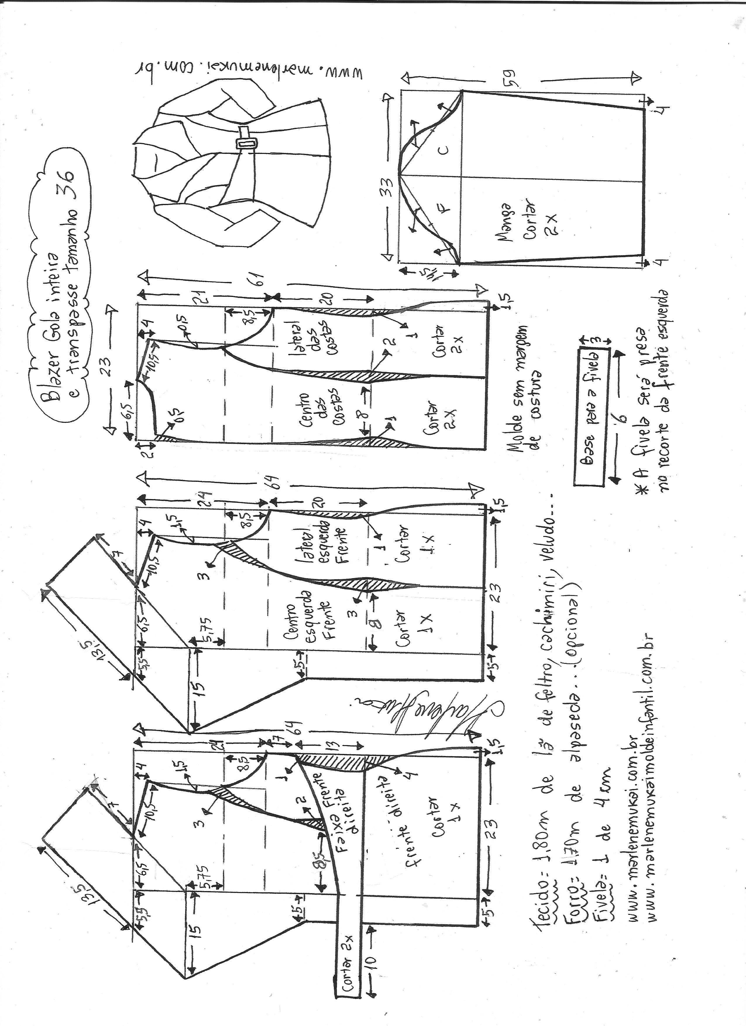 blazergolainteiracomtranspasse-36.jpg (2550×3507) | Cucito Top ...
