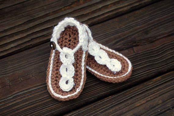 Baby Girl Sandals Crochet - Buttoned Sandal Straps - Baby Shower - Birthday - Wedding - Summer - Photography Prop - newborn to 12 months on Etsy, $13.00