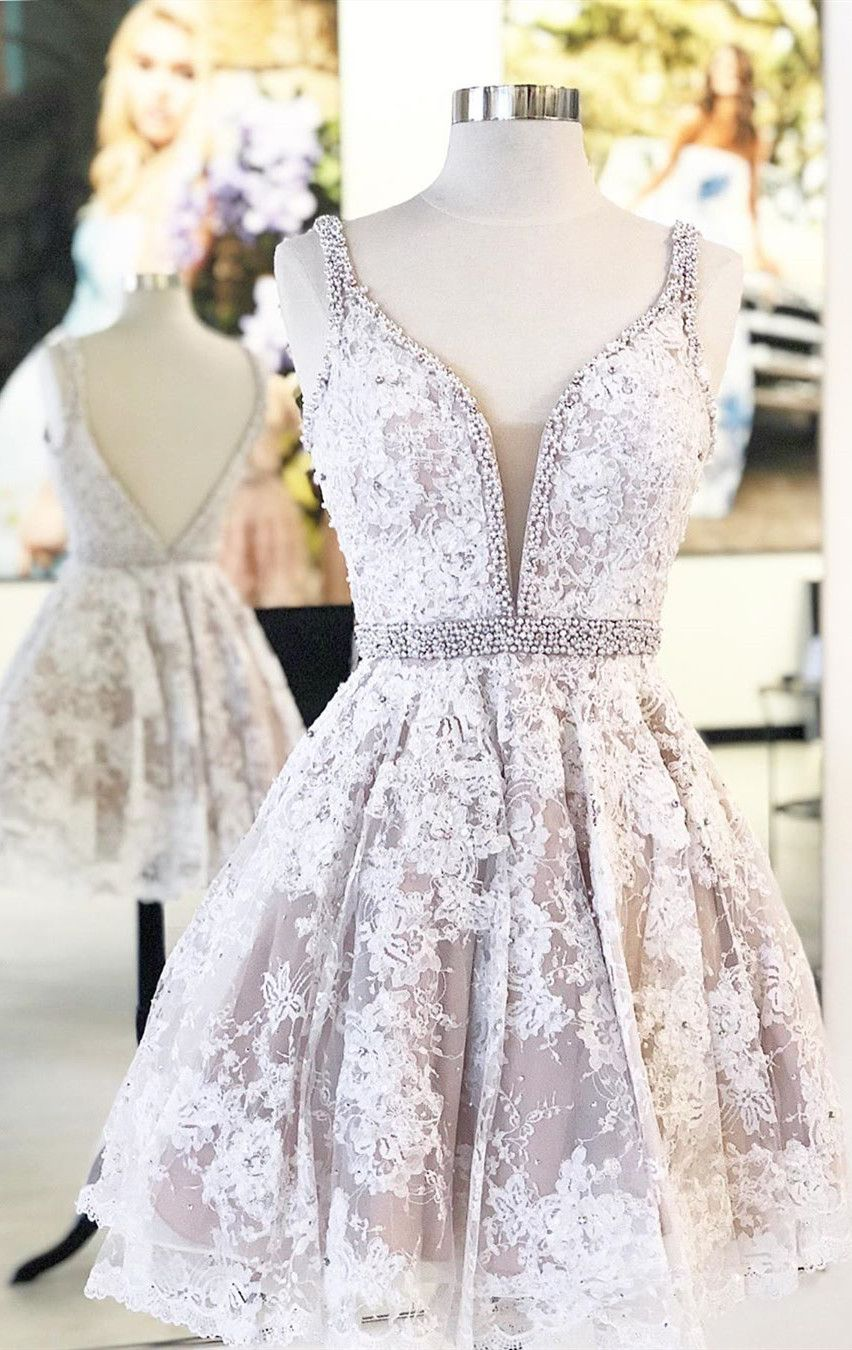 vintange short homecoming dresses, champagne lace short