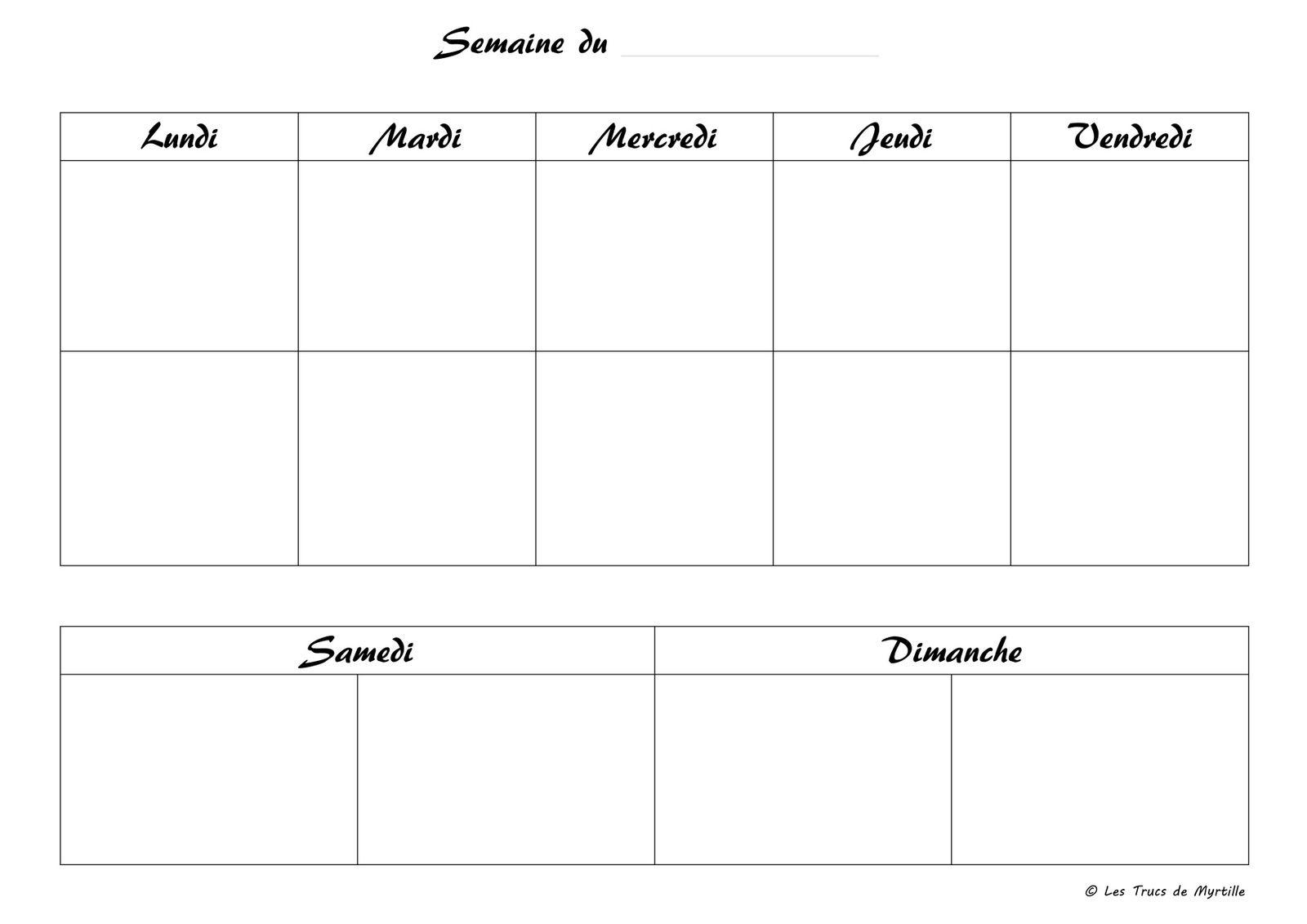 planning vierge menu de la semaine tableau repas pinterest planning vierge planifier et. Black Bedroom Furniture Sets. Home Design Ideas